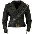 Ladies Black Classic Leather Motorcycle Jacket JEI 7234