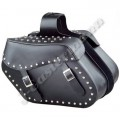 Waterproof Black Leather Large Motorcycle Saddle Bag with Metal Studs JEI-7902