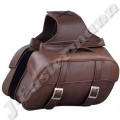 Premium Brown Leather Zip Off Motorcycle Saddle Bag JEI-7876