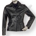 Ladies Stylish Short Length Black Soft Leather Jacket JEI 7392