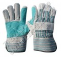 Leather Double Palm Working Gloves - Light Green JEI-1140