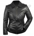 Ladies Black Designer Fit Lambskin Short Leather Jacket JEI 7366