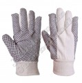 Drill PVC Dotted Gloves with Knitted Wrist Clout Cut Style JEI-1150-PVD