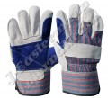 Leather Double Palm Working Gloves - Blue JEI-1123.01NB