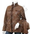 Ladies Antique Leather Long Jacket with Zipper Closure JEI 9121