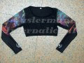 Ladies Long Sleeve Crop Top / Sports Bra JEI-9138-BL