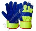 Blue High Visibility Premium Leather Work Gloves JEI-1113.01HV