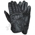 Black Leather Perforated Summer Motorcycle Racing Gloves JEI-4036